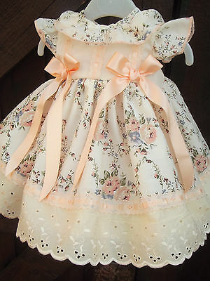 Dream Girls Romany Spanish Lined Cream Peach Floral  Dress Set 0-4 Years