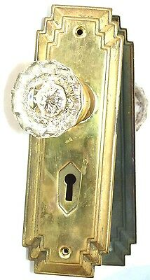 One Pair Antique Glass Knobs Handles & Brass Art Deco Backplates [Up To 5 Pairs]