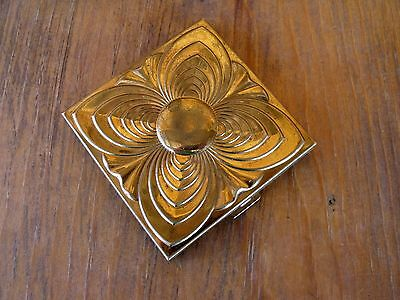 Vintage Gold Tone Metal Square Volupte USA Compact Decorated w Raised Design