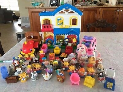 HUGE LOT Fisher Price Little People Busy Day Dollhouse,People,Animals,Vehicles.