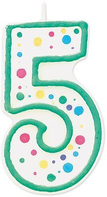 Wilton Number 5 Numeral Candle Birthday Cake Blue Trim & Polka Dots 3x1.5x0.5""