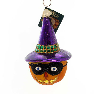 Old World Christmas MASKED JACK OLANTERN Ornament Pumpkin Halloween 26063 Purple