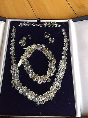 Gorgeous Real Crystals Necklace, Bracelet and Earrings Set Bridal/Special day/