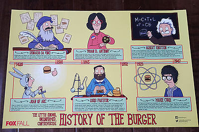 2015 Sdcc Comic Con Exclusive Fox Poster Bob's Burgers History Of The Burger