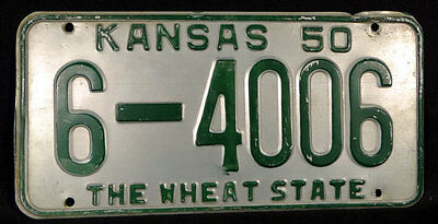 Kansas Ks 1950 The Wheat State License Plate Tag 6-4006