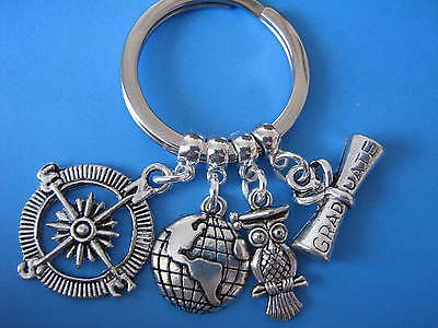 Geography Keyring Graduation Gift Environmental Graduate World Compass Keychain