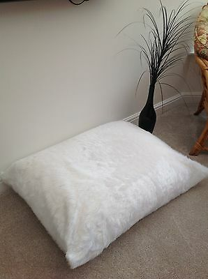 Adults / Childs Floor Cushion Filled White Faux Fur Large 3ft Size Luxurious New
