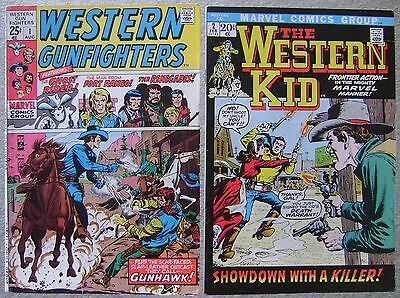 Western Gunfighters #1 + Western Kid #2 (2) Marvel Comics Bronze Fn Westerns