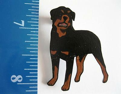 ROTTWEILER DOG PIN ~ Handpainted Acrylic Art Jewelry by ANUBIS ARTWORKS