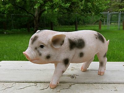 PIG 9 in.spotted standing animal farm piglet oinker resin figurine statue new