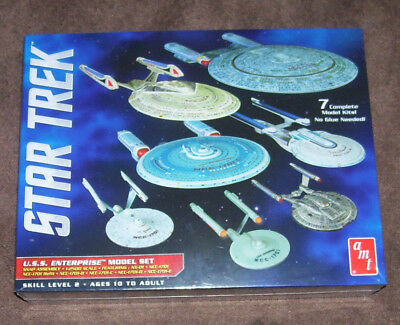 Star Trek Enterprise 7 Ship Boxed Set 1/2500 Scale Amt Round2