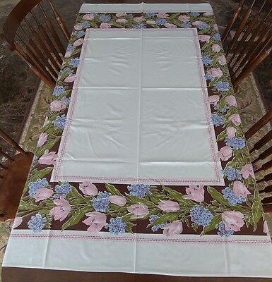 Vintage Printed 40s-50s Cotton Blend Tablecloth Pink Tulips Lilacs Flowers (#26)