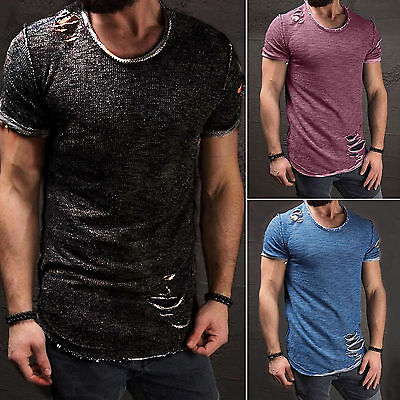 Ripped Men's O Neck Tops Tee Shirt Slim Fit Short Sleeve Casual T-Shirt Cotton
