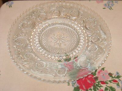 """Clear Sandwich Glass Vintage 7"""" Dish Underplate or Saucer Scroll Star Pattern"""