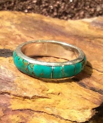 Native American Wedding Band Ceremony Sterling SZ 6.5 Ring Green Turquoise Inlay