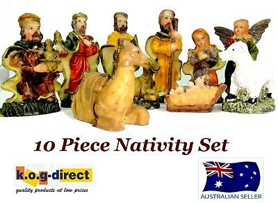 10 Piece Christmas Nativity Set Scene With 10 Figures New Hw-48