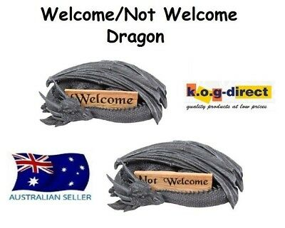 Gothic Black Dragon With Welcome Not Welcome Sign Myth And Magic New - Dragweln