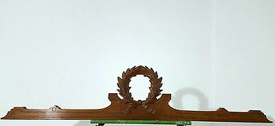 Carved Wood Pediment Antique French Victory Laurel Wreath Mount Cornice Crest