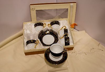 12-pc.Royal  Porcelain Tea Coffee Espresso Set Blue, 24K Gold 6 Cups and Saucers