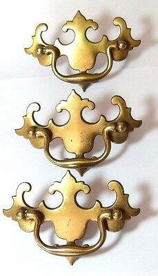 Set X 3 Brass Vintage Chest/drawer/door Pull Handle Georgian Style