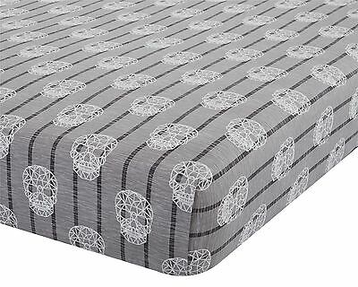 Geometric Skulls Distressed Grey Double 135X190+25Cm Cotton Blend Fitted Sheet