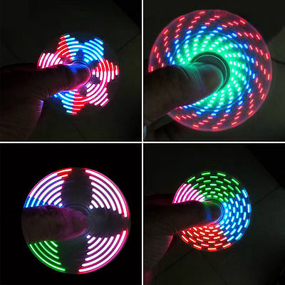 New 15 Changings LED Rainbow Light Hand Spinner Tri Fidget EDC Toy Focus ADHD HF