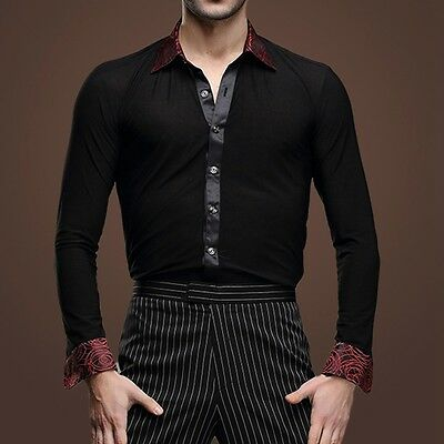 Men's Fashion Dancewear Ballroom Latin Dance Shirt Cha Cha Salsa Formal Costume