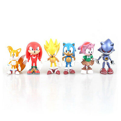 Sonic The Hedgehog Figures - 6 Pcs Set PVC Action Characters Toys 5cm - 7cm