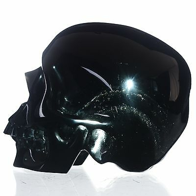 """5"""" Natural Rainbow Obsidian Hand Carved Skull/Head,Collectibles#23H47"""