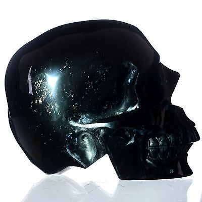 """4.96"""" Natural Rainbow Obsidian Hand Carved Skull/Head,Collectibles#23H46"""