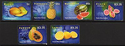Papua New Guinea Sg1152/7 2007 Tropical Fruits Mnh