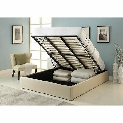 MAJESTY Lit coffre adulte 140x190 + sommier taupe - EIGN10082 NEUF