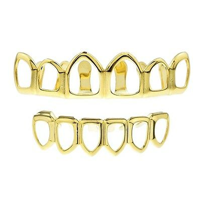 Grillz 24K Gold Plated Top & Bottom Open Face Teeth Bling Free Gold Tooth Cap