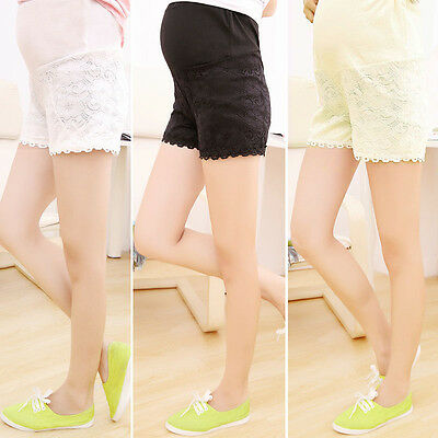 Hot Maternity Shorts Single Color Lace Over Bump Short Pants Dress Safety Pants