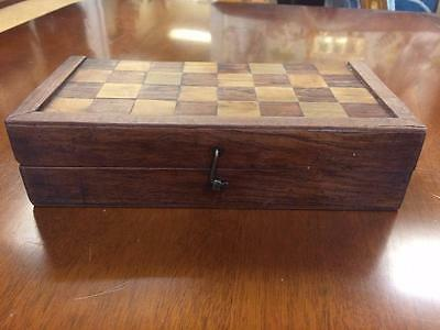 Complete Victorian Mixed Wood Game Chess Box Decorated With Inlay Patterns