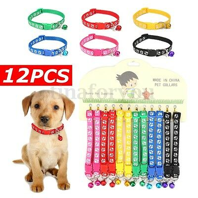 12Pcs Adjustable Dog Collars Pet Cat Nylon Collar with Bell Necklace Buckle