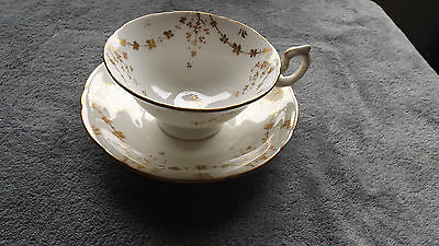 Vintage Collectable China Cup & Saucer, Gold Painted Flower Design