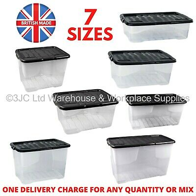 Strata Curve Value Clear Plastic Storage Box Boxes with Lids - 7 Sizes