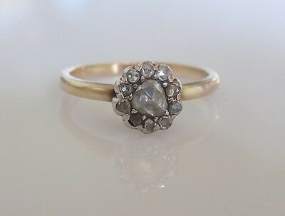 Georgian Rose cut Diamond 9CT Gold cluster ring, Regency