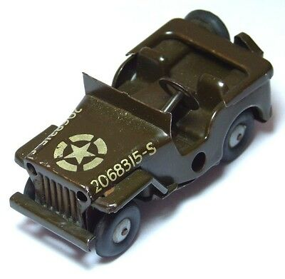 Splendid Vintage Antique Tin Plate Clockwork Toy Army Jeep Triang Minic