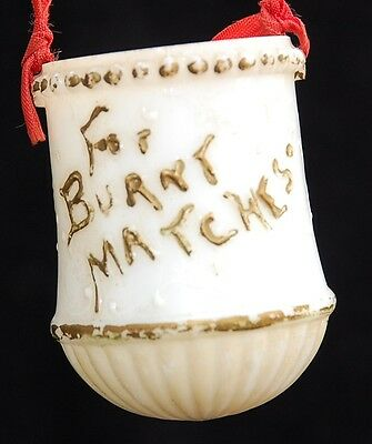 Genuine Antique 100+ years VICTORIAN Hanging Burnt MATCH Holder MILK GLASS 1890s