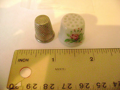 Small thimbles-1 Staffordshire English Porcelain (Very RARE)+ 1Metal thimble
