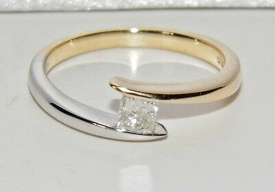 9ct Yellow & White Gold 0.25ct Diamond Solitaire Engagement Ring - size L