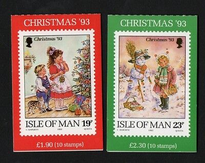 Isle of Man Two 1993 Xmas Stamp Booklet's  S.G. SB35 and SB36