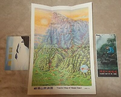 """VINTAGE Chinese TOURIST Brochure """"MAP OF(sacred)MOUNT EMEI"""" 1985  & 11 postcards"""