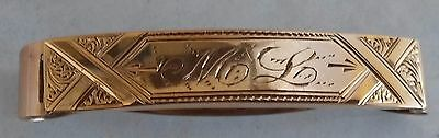 1862,Antique 10k Yellow Gold Hand Chased Child's Hair Clip Barrette 1.6g