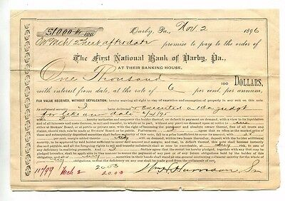 Vintage Promissary Note FIRST NATIONAL BANK OF DARBY PA 1896