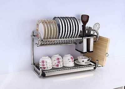 2 Tier Stainless Steel Dish Plate Cutlery Rack Kitchen Drainer Holder Rust Free