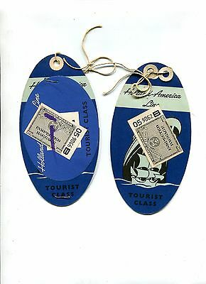 Vintage Cruise Ship Luggage Tag pr HOLLAND AMERICA w Customs Inspected stamps