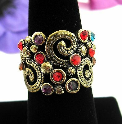 Colorful RHINESTONE Chunky RING Vintage Goldtone Wide Thick Spirals Size 7.5